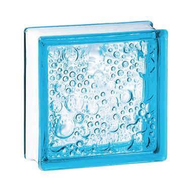Brique de verre 198 bullée bleue 19x19x8cm