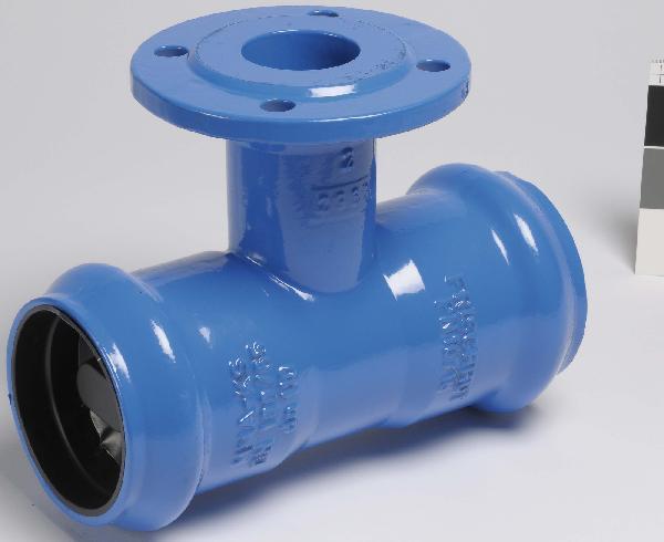 Té fonte pour PVC Ø125 tubulure à bride 125