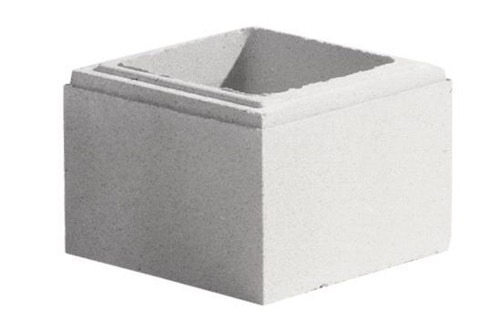 Elément pilier béton LISSE blanc 25x25x16,7cm