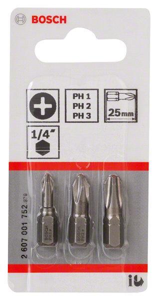 Embouts de vissage courts 25mm PH1-PH2-PH3 set 3