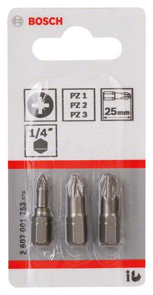 Embouts de vissage courts 25mm PZ1-PZ2-PZ3 set 3