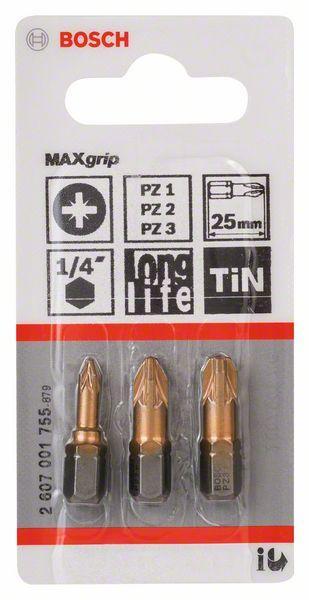 Embouts de vissage Max Grip 25mm PZ1-PZ2-PZ3 set 3