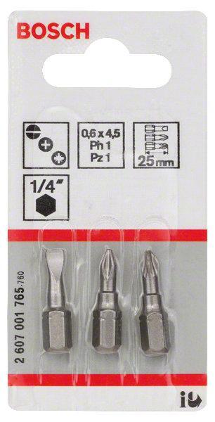 Embouts de vissage courts 25mm PH1-PZ1 set 3