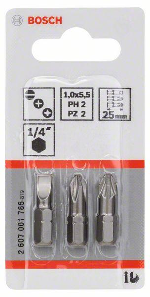 Embouts de vissage courts 25mm PH2-PZ2 set 3