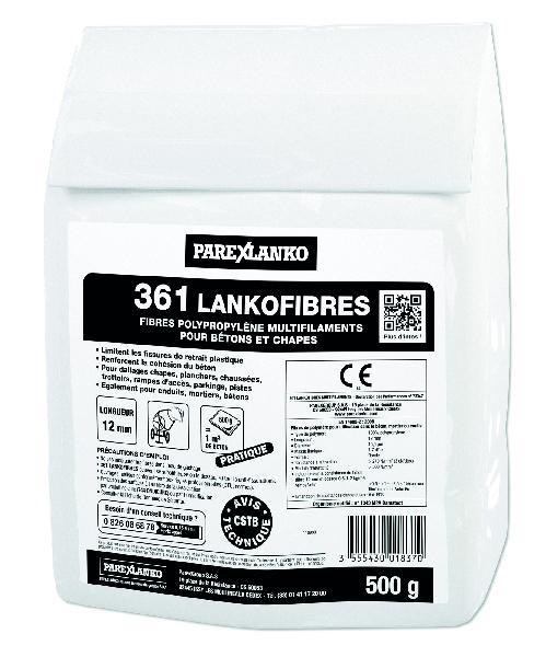 Fibre polypropylène pour béton 361 LANKOFIBRES sachet 500g