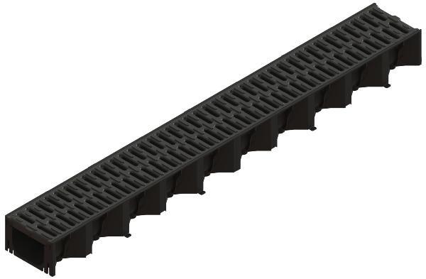 Caniveau PP de drainage HEXALINE 100 1m + grille MICROGRIP A15 PMR