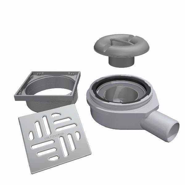 Siphon sol TUB-BAW-S sortie horizontale Ø50mm + obturateur odeurs