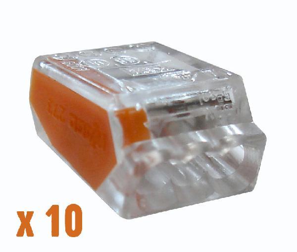 BORNES DE CONNEXION AUTOMATIQUE 3 X 0,5 A 2,5MM² BOITE 10