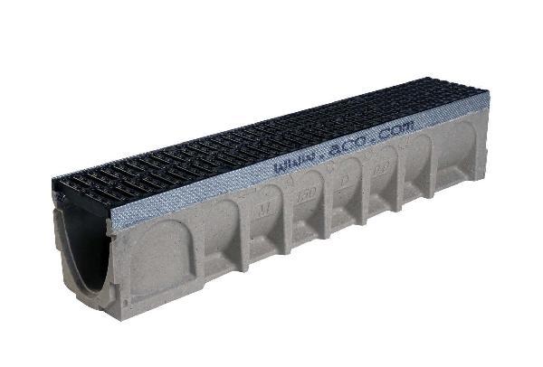Caniveau béton polymère MULTIDRAIN 150 1m + passerelle fonte D400