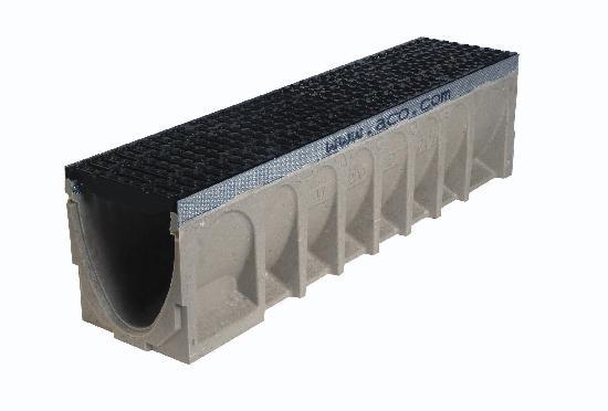 Caniveau béton polymère MULTIDRAIN 200 1m + passerelle fonte C250