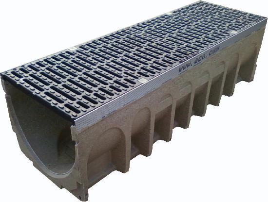 Caniveau béton polymère MULTIDRAIN 300 1m + passerelle fonte D400