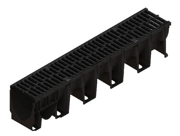 Caniveau PP XTRADRAIN 150C 1m + grille passerelle fonte C250 PMR