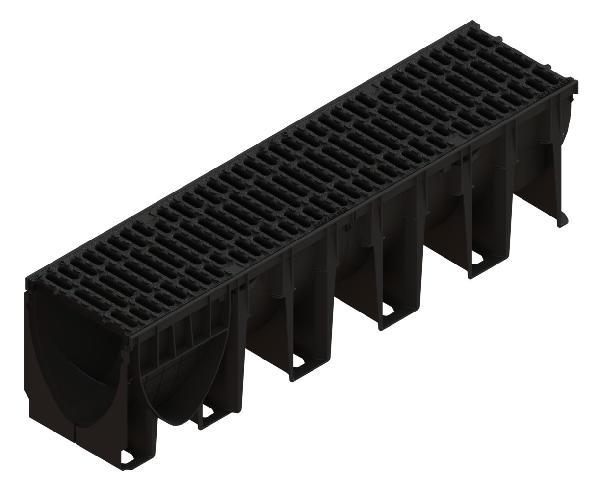 Caniveau PP XTRADRAIN 200C + grille passerelle fonte C250 1m