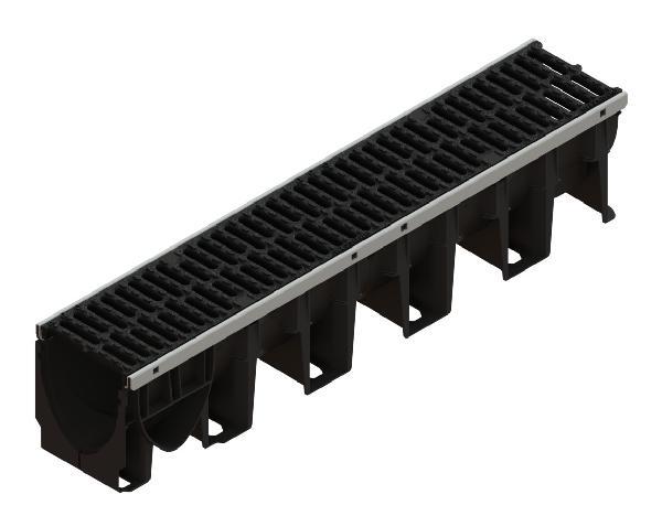 Caniveau PP XTRADRAIN 150S 1m + grille passerelle fonte C250 PMR