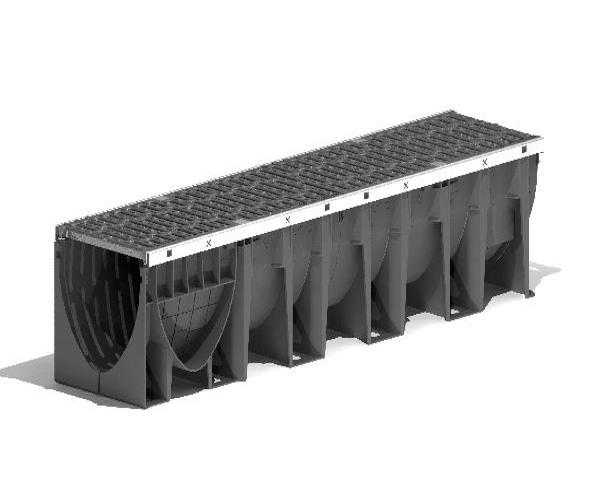 Caniveau PP XTRADRAIN 200S 26,7cmx1m +grille passerelle fonte C250 PMR