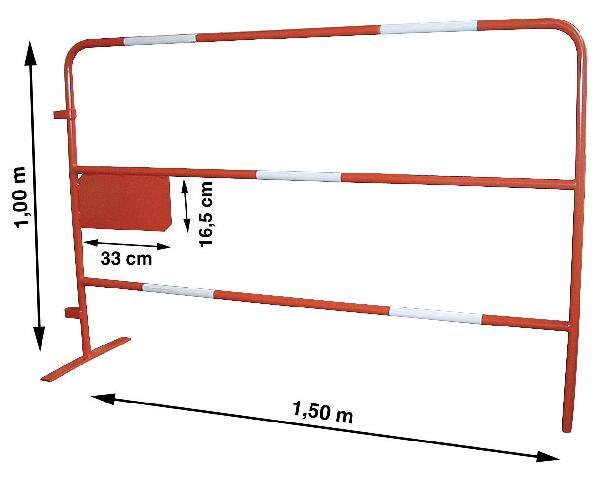 Barrière de chantier TP ht.1m 1,5m 6,5kg rouge/blanc