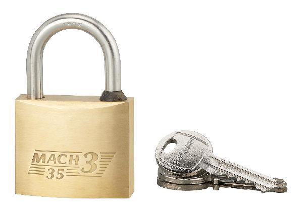 Cadenas MACH 3 laiton poli anse inox 35mm 2 clés