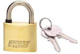 Cadenas MACH 3 laiton poli anse inox 45mm 2 clés