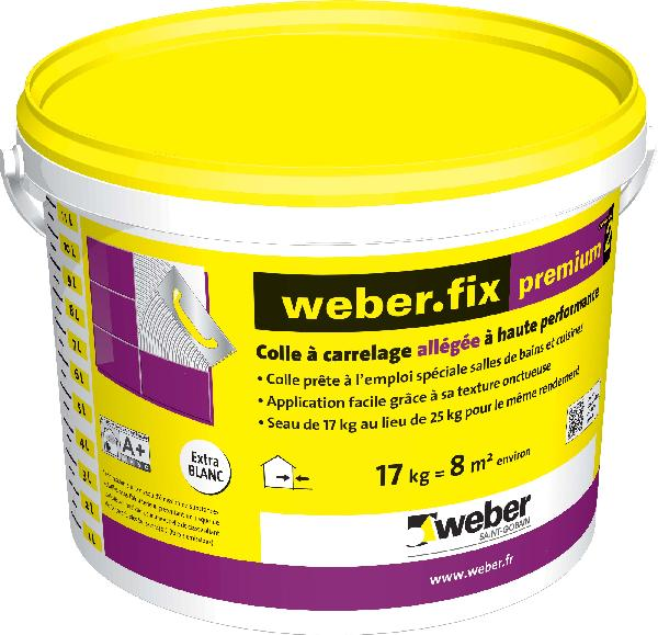 Colle weber fix premium seau 17kg for Colle carrelage weber