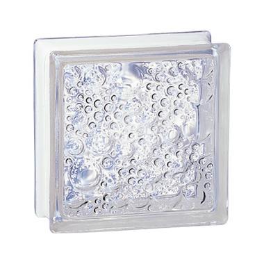 Brique de verre standard 198 bullée incolore 19x19x8cm