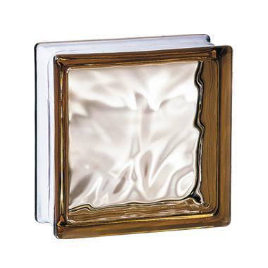 Brique de verre 198 nuagée bronze 19x19x8cm