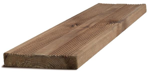 Lame terrasse pin scandinave traité CL4 brun striée 27x145mm 3,30m