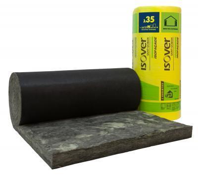 Laine de verre ISOFACADE 35R noir 120mm 650x60cm par 2 R=3,4