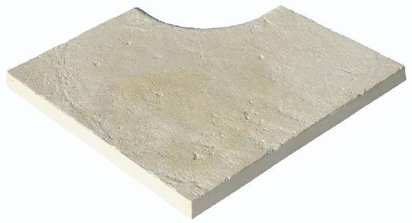 Margelle angle BERGERAC 49,5x49,5cm blanc cassé