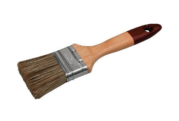 Brosse plate vernis lasure manche bois verni 40mm