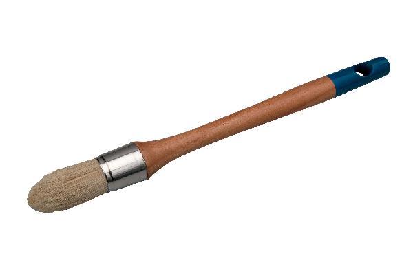 Brosse ronde à réchampir acrylique manche bois verni Ø25mm