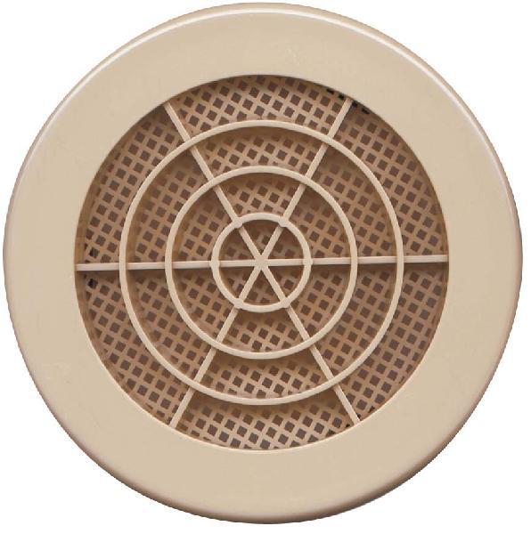 Grille à clipser fixe ronde avec moustiquaire Ø100mm sable vrac