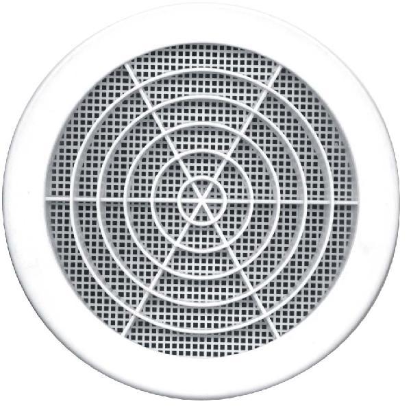 Grille à clipser fixe ronde avec moustiquaire Ø125mm blanc vrac