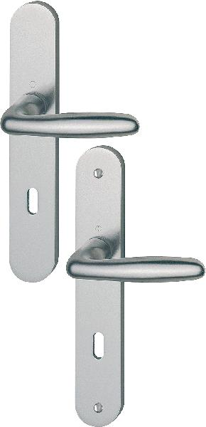 Poignée de porte sur plaque VERONA alu aspect inox 195mm clé L