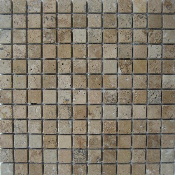 Travertin mosaique rustic chiaro vieilli 2,3x2,3cm Ep.1cm