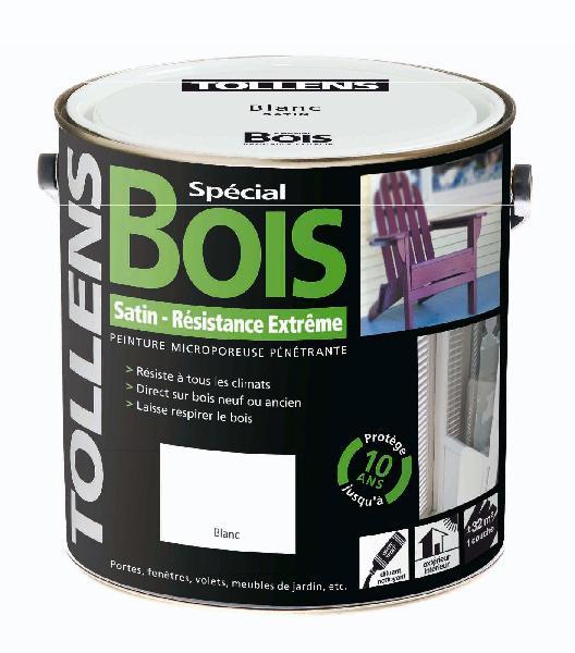 Peinture exterieur bois satinee glycero blanc 3l for Peinture microporeuse bois exterieur tollens
