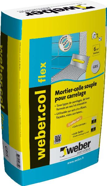 Mortier colle carrelage WEBER.COL FLEX gris sac 25kg NF EN12004