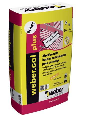 Colle carrelage WEBER.COL PLUS blanc sac 25kg