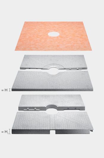Receveur prêt à carreler + panneau mise à niveau 1000x1000mm Ep.60mm