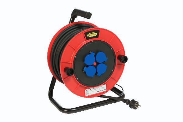 Enrouleur 4 prises+disjoncteur thermique HO7RN-F 3G 2,5mm² 16A 25m