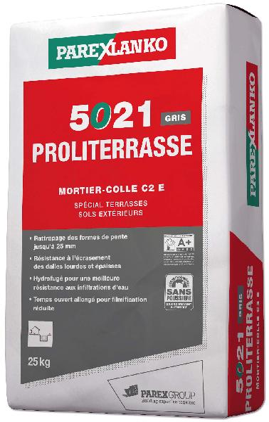 Mortier colle PROLITERRASSE 5021 gris sac 25kg