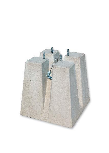 Massif de candélabre béton M6D entraxe =200mm tige =14