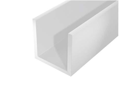 Profilé en U PVC blanc 1m 10x10mm Ep.1mm