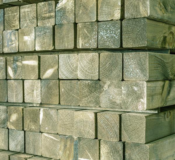 Sous-structure pin traité CL4 vert rabotée faces lisses 90x090mm 5,00m