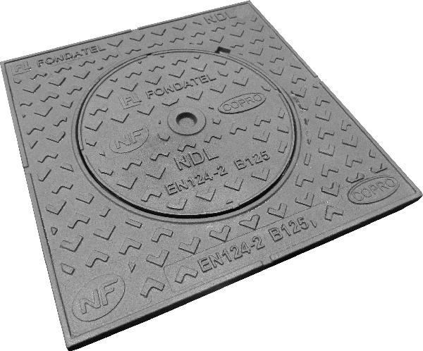 Regard fonte de trottoir carré NDL 50 B125 500x500 -Ø350 NF