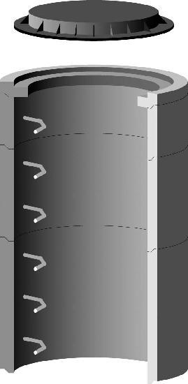 Réhausse béton pour regard Ø800 H.90cm avec 3 échelons