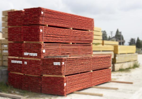 Planche peinte rouge 32x150mm 4,00m