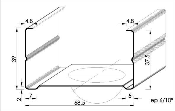 montant m tal 70 40 2 80m. Black Bedroom Furniture Sets. Home Design Ideas