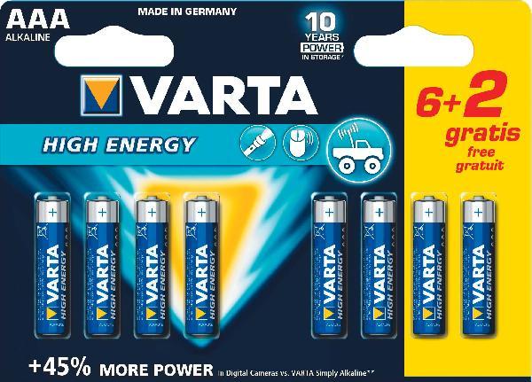 Pile alcaline high energy LR3 6+2 gratuites