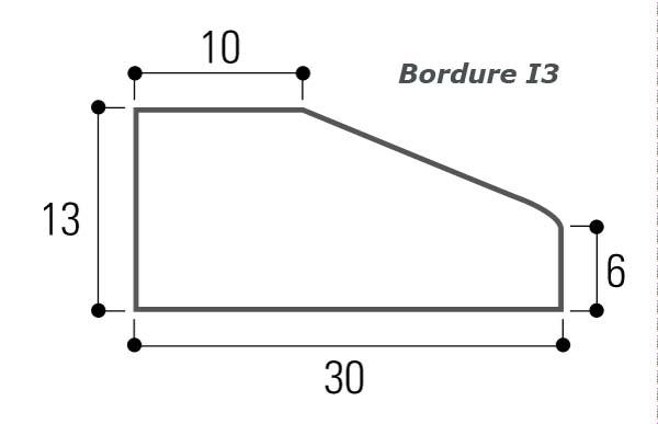 BORDURE BETON ILOT I3 GRISE 0,60M