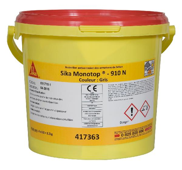 Mortier anticorrosion SIKA MONOTOP 910 N gris seau 4x0,8kg